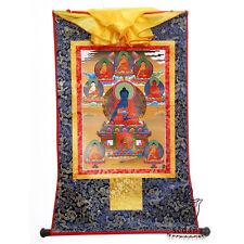 25 Inch Tibetan Thangka 8 Medicine Buddha Silk Brocade Wood Scroll Printed