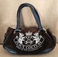 Juicy Couture handbag Brown velour Born in the USA leather dreamer hobo purse