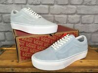VANS LADIES OLD SKOOL LIGHT ICE BLUE SUEDE PLATFORM TRAINERS VARIOUS SIZES