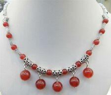 "LOVELY NATURAL RED JADE ROUND BEADS PENDANTS & TIBET SILVER NECKLACE 18"" PN317"