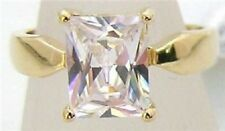 18K GOLD EP 4.5CT DIAMOND SIMULATED SOLITAIRE RING size 7 or O