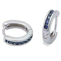 Gorgeous Blue Sapphire Huggie Hoop Earrings in Solid Sterling Silver