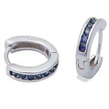 Earrings in Solid Sterling Silver Gorgeous Blue Sapphire Huggie Hoop