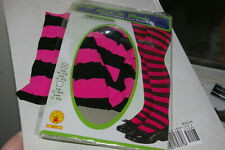 Rubie's Costume Co. Child Pink/ Black Striped Tights Costume Small 40-55 Lbs