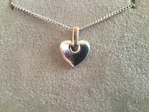 Authentic Sterling Silver & 9ct Gold Clogau Cariad Heart Necklace
