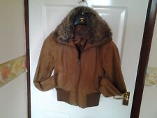 Light Brown Cuffed & Fur Collar Styled Real Leather Jacket By New Look Size 12