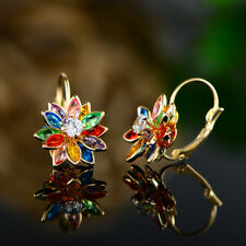 Sevil 18K Gold Plated Multi Color Flower Drop Earrings With Swarovski Elements
