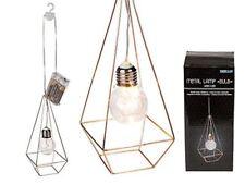 Copper Colour Geometric Metal Lamp Bulb w/ 3 LED Light Decoration Hook Lantern
