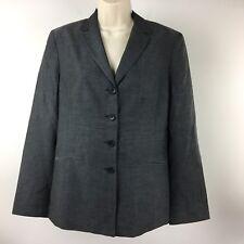 Ann Taylor Loft Gray Long Sleeve Four Button Silk Lined Career Blazer Size 10