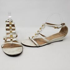 3102e36688dc KATE SPADE WOMENS WHITE GOLD LEATHER ANKLE STRAP STRAPPY STUDDED SANDALS 9 M