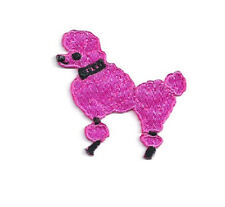 Poodle - Dog - Fuschia Pink - Embroidered Iron On Patches - SMALL 1.75""
