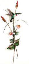 Hummingbird & Pink Lilies Metal Wall Art Decor Sculpture by Bovano #W7625