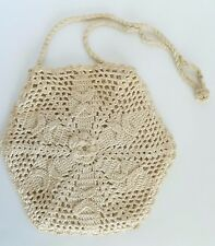 VTG Hand Crochet Hippie Flower Child Hexagonal Floral Pattern Purse 1960's/70's