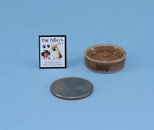 1:12 Scale Dollhouse Miniature Porcelain Dog Food Bowl & Dog Book Set #HCX154
