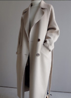 Women Wool Blend Lapel Trench Coats Cashmere Outwear Maxi Long Coat  Jackets sz