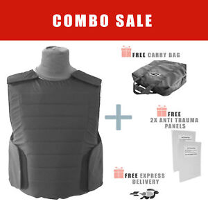 level IIIA 3A Bullet Proof Vest Body Armor w/ 2x Anti Truama ROBO