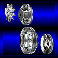 Chrome 4 pulley set for small block Chevy long water pump SBC 283 327 350