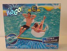Bestway H2O GO! Anillo doble de 6 pies de largo Flotador Lounge (6ft. 2in. x 46in). nuevo