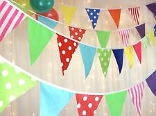 Fabric Party Bunting colourful circus spots & stripes 10m weddings baby shower R