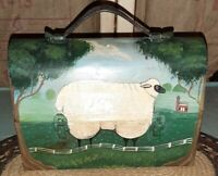 Original Wendy Presseisen Signed Folk Art Hand PAINTED Metal Lunchbox Farm Scene
