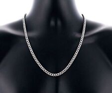 Men's Stainless Steel Silver Curb Cuban Link Chain Necklace 50cm Long 4mm Wide