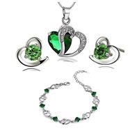 Findout Juego de colgante  pendientes y pulsera de plata con corazón de cristal