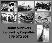 Titanic Disaster PHOTOS Lot of 7,Carpathia Crew,Sinking Rescue Photo Collection
