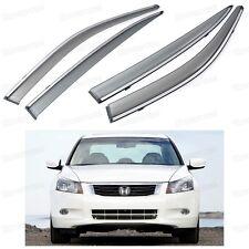 Front & Rear Window Visor Deflectors Vent Shade for Honda Accord Sedan 2008-2012