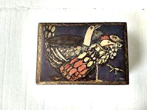 Vintage Hinged Trinket Box Painted Jewelry Storage Chicken Art Print Birds Wood