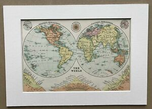 Mounted 1934 Map of The World in Hemispheres
