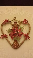 vtg handcrafted wall decor seashells clay vases rattan copper wire plastic beads