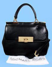 MICHAEL KORS MARLOW Black Leather Satchel Shoulder Bag Msrp $298