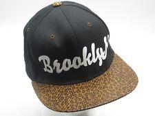 PIT BULL Black Snapback Hat White BROOKLYN Animal Print Flat Bill Hip Hop Cap