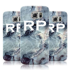PERSONALISED WHITE INITIALS MARBLE CASE COVER FOR SAMSUNG GALAXY MOBILE PHONES