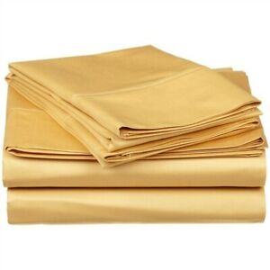 Luxor Impressions Rayon from Bamboo Sheet 300 TC ~ King Flat ~ Gold **NEW**