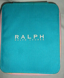 Vintage Collectable Genuine Ralph Lauren Pink Satin Lined Zipped Turquoise Box