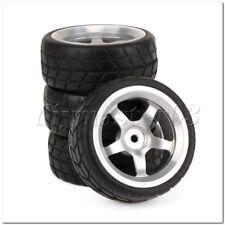 4pcs RC 1:10 Sport Rennwagen Reifen Tyre + 5 Speichen Felgen Schwarz und Silber