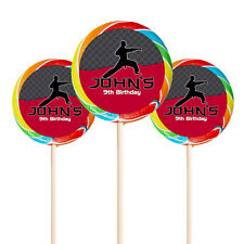 """24 Karate Martial Arts Birthday Party Favor Personalized 1.65"""" Lollipop Stickers"""