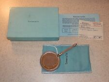 """TIFFANY AND CO. STERLING MESH FRAMED SMALL MIRROR WITH BOX PAPERWORK 5 1/2"""""""