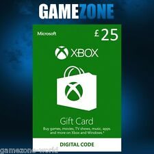 Microsoft Xbox Live £25 GBP UK Gift Card Points Pounds For Xbox 360 / Xbox One