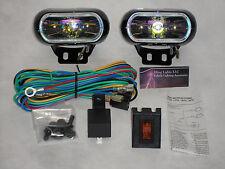 Hella Optilux 1770 Fog Lamps Lights Kit Universal Black Rectangular Rainbow Lens