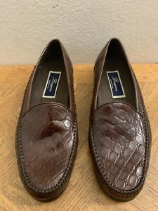 Bragano Grafted In Italy Crocodile Loafers Men Shoes Sz 8.5 M MINT