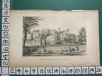 c1820 SMALL ANTIQUE PRINT ~ FLITWICK MANOR HOUSE ~ BEDFORD SEAT OF BROOKS