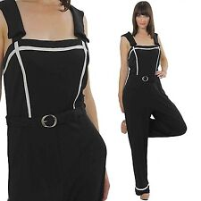 Vintage 60s 70s Boho Hippie Mod Color Block Sailor Nautical black  jumpsuit