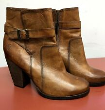 FRYE Patty Riding Bootie Brown Leather Strap & Buckle Size 7.5
