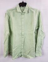Men's Shirt Tommy Bahama Green 100% Linen Long Sleeve Shirt Large Pocket Button