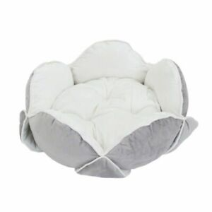 Cat Snuggle Bed White Grey Luxury Pet Bed Cats Dogs Flower Shape Velvety Soft