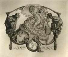 Franz von Bayros Erotisches Exlibris Kathan Erotic Nude w Faun Satyr #113