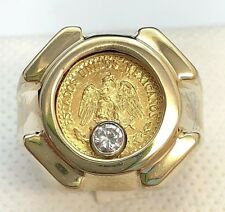 14k Yellow Gold Spinning Diamond Gold Mexican 2 Pesos Coin Ring