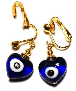 Short Gold Blue Evil Eye Heart Clip-On Earrings Glass Bead Drop Dangle Boho Chic